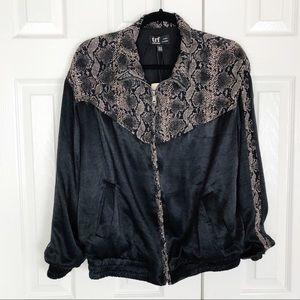 New Zara Trf Snakeskin Print Black Bomber Jacket